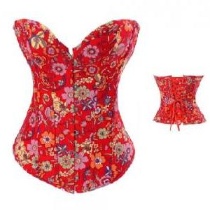 Butterfly & Floral Bustier Corset; ..