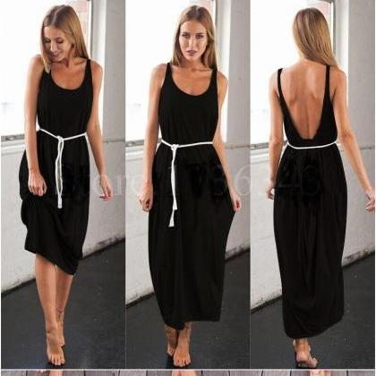 Backless Sleeveless Summer Maxi Dre..