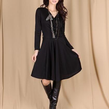 Long Sleeve Knitted Wrap Dress with..