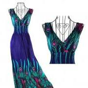 Peacock Bohemian V-Neck Maxi Dress - 3 Colors