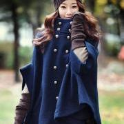 Double-Breasted Wool Cloak Cape Coat In Navy Blue with Batwing Sleeve - available in sizes US sizes S and M only