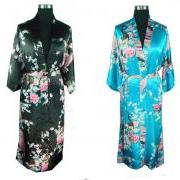 Oriental Kimono Printed Silk Robe - Available In Sz S Thru 3XL