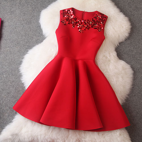 Luxury Red Sequined Sleeveless Dress For Spring/Summer/Autumn