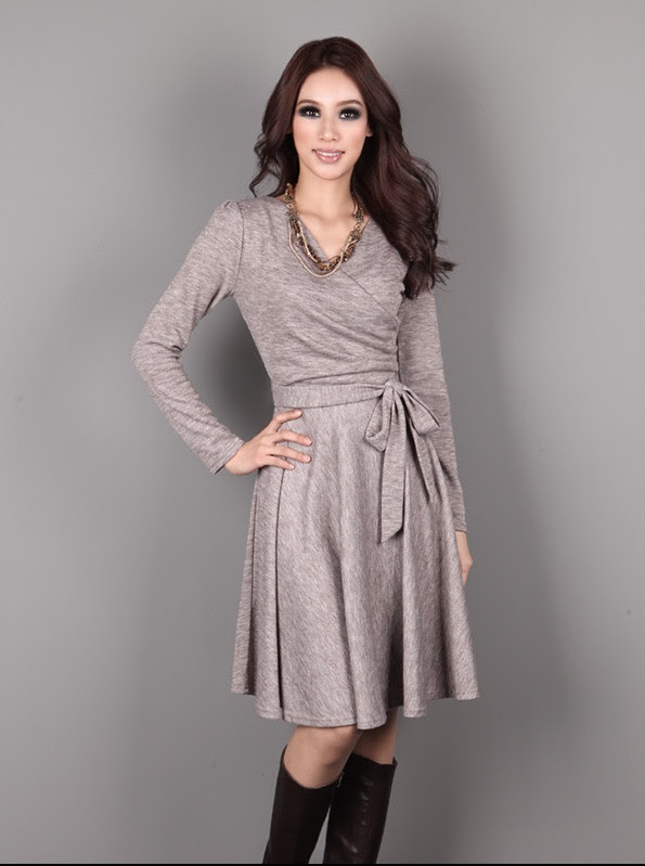 Long Sleeve Knitted Wrap Dress with Front Tie - available in 2 colors