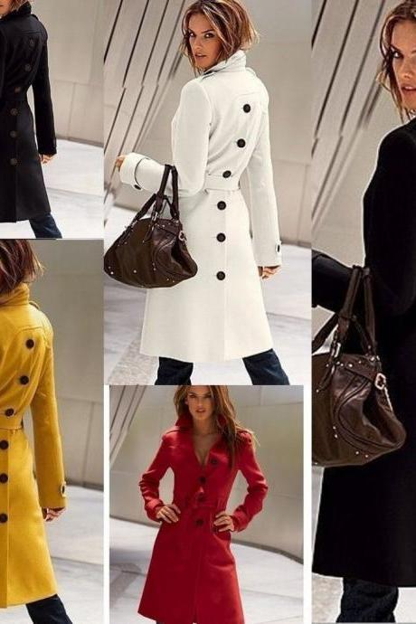 Warm Winter Women Wool Long Sleeve Slim Fit Trench Coat Outerwear Coat Jacket