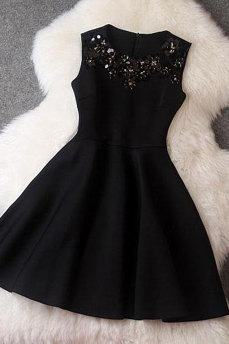 Luxury Black Sequined Sleeveless Dress For Spring/Summer/Autumn (avail in 3 colors)