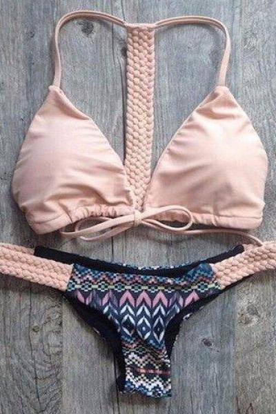 Chic Spaghetti Strap Hand-Weave Printed Bikini Set For Women