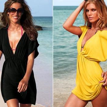 Swimsuit Cover Up - Tunic Bikini Dress - Available In 8 Colors