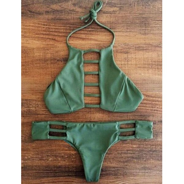 Gorgeous Green Halter Hollow Out Bikini Set For Women - (S,M,L)